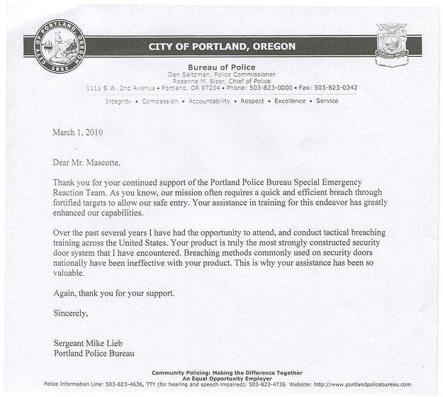 Portland Police Testimonial